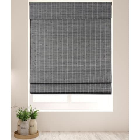 Arlo Blinds Semi-Privacy Grey-Brown Bamboo Roman Shades with 74 Inch Height