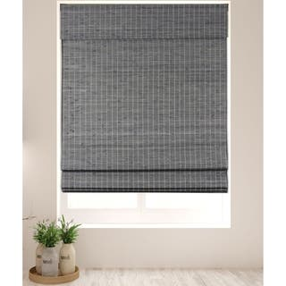 Arlo Blinds Cordless Lift Semi-Privacy Grey-Brown Bamboo Roman Shades with 74 Inch Height