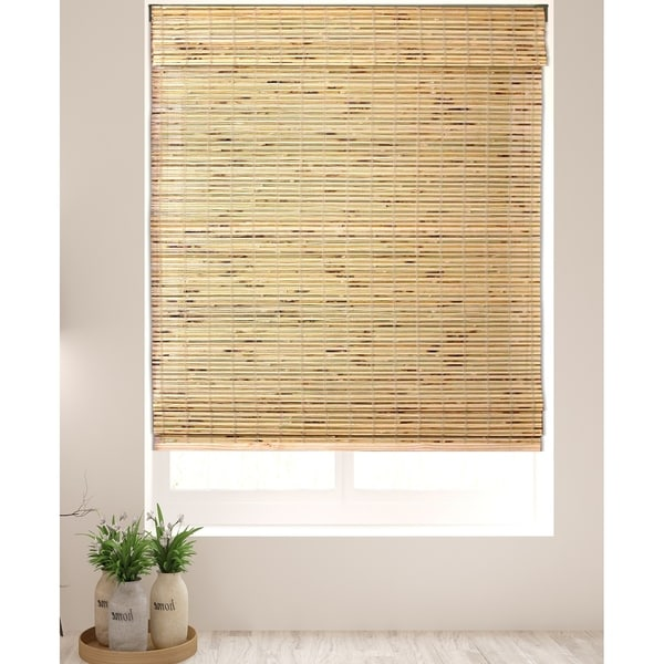 Arlo Blinds Petite Rustique Bamboo Roman Shades with 74 Inch Height. Opens flyout.