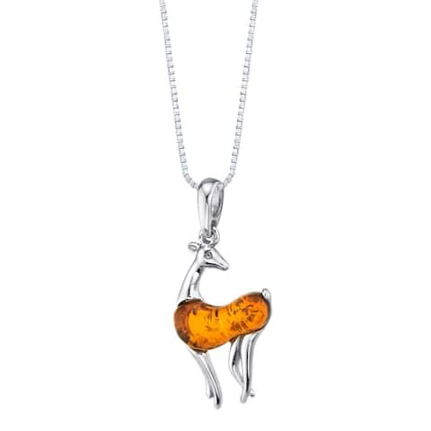 Baltic Amber Sterling Silver Deer Pendant Necklace Cognac Color