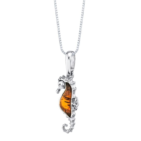 Baltic Amber Sterling Silver Seahorse Pendant Necklace Cognac Color. Opens flyout.