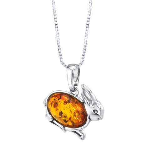 Baltic Amber Sterling Silver Bunny Pendant Necklace Cognac Color