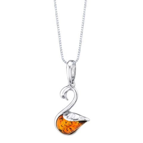 Baltic Amber Sterling Silver Swan Pendant Necklace Cognac Color