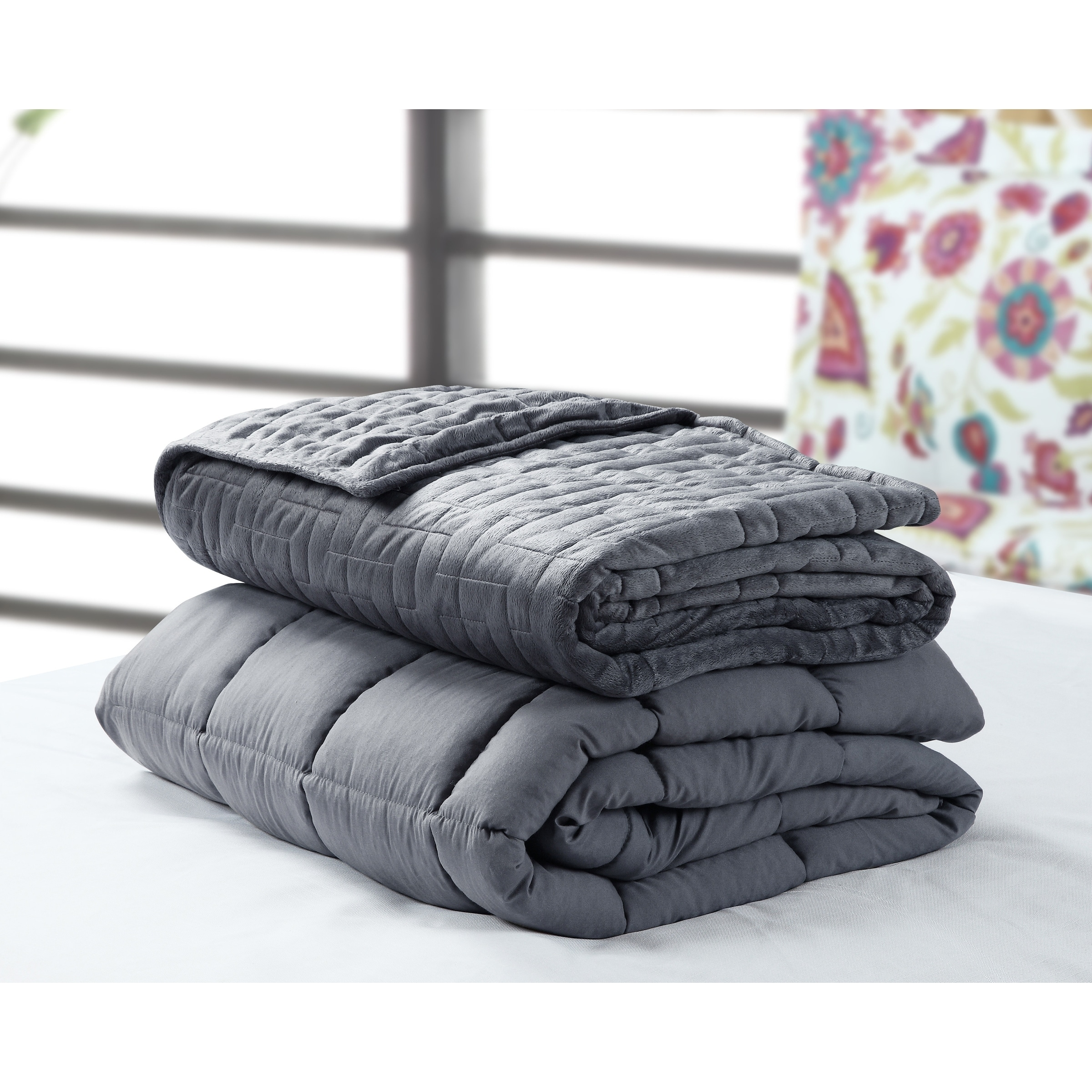 Weighted Blanket With Option Of Quilted Duvet Cover Overstock 24266122