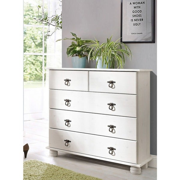 Fiona Chest of 5 Drawers, Solid Pine, Off-white