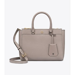 Tory Burch Robinson Grey Heron Leather Small Double-zip Tote
