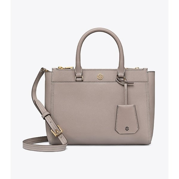 8a10995aa Shop Tory Burch Robinson Grey Heron Leather Small Double-zip Tote ...