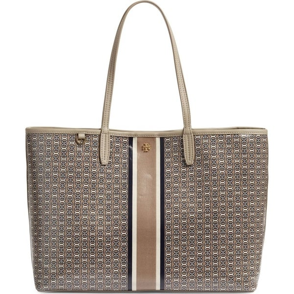 5c70befc6764 Shop Tory Burch Gemini Link Coated Canvas Tote French Grey - Free ...