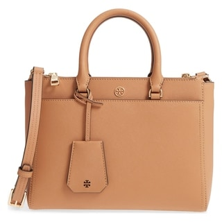 Link to Tory Burch Robinson Cardamom/Royal Navy Leather Small Double-zip Tote Similar Items in Shop By Style