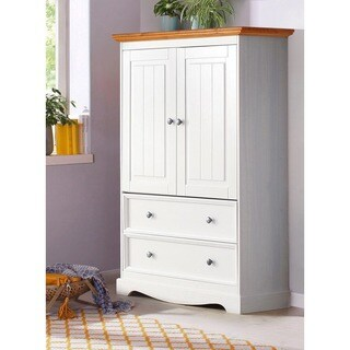 Monty 2 Drawer 2 Door Solid Pine Storage Cabinet, Off-White / Honey