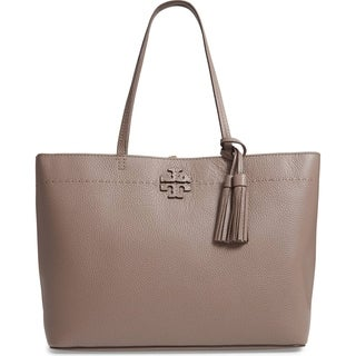 Tory Burch McGraw Silver Maple Leather Tote