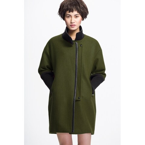 Women's Olive Wool Blend Boucle Knit Sleeves Coat