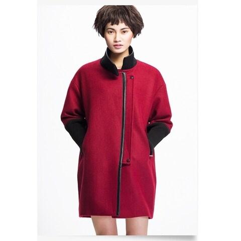 Women's Wine Wool Blend Boucle Knit Sleeves Coat