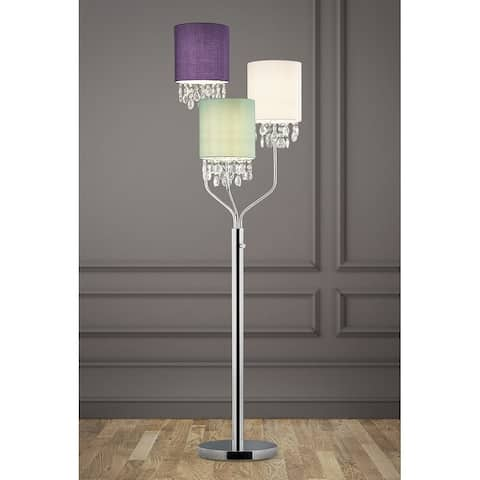 """68"""" High 3-Light Crystal Pendants Floor Lamp with Mix Color Shades"""