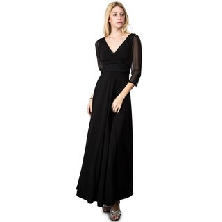 Evanese Women's Plus Elegant Long Formal V-Neck Dress with 3/4 Sleeves