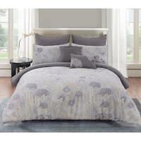 Aiko Cotton Comforter Set, Queen in Purple
