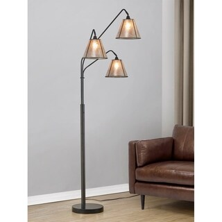 HomeGlam Midtown Dark Bronze 84-inches High 3-light Arched Floor Lamp with Cream Mica Shades