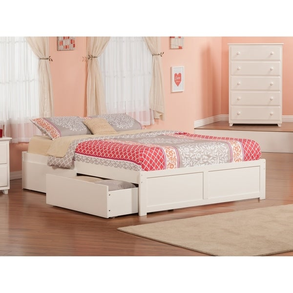 Concord Queen Platform Bed with Flat Panel Foot Board and 2 Urban Bed Drawers in White. Opens flyout.