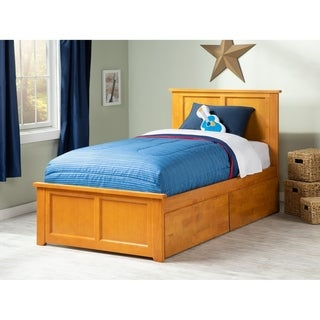 Madison Twin XL Platform Bed with Matching Foot Board with 2 Urban Bed Drawers in Caramel