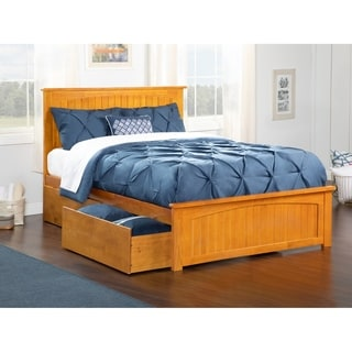 Nantucket Queen Platform Bed with Matching Foot Board with 2 Urban Bed Drawers in Caramel