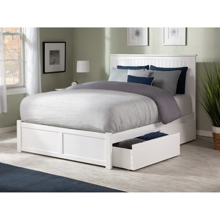 Link to Nantucket King Platform Bed with Flat Panel Foot Board and 2 Urban Bed Drawers in White Similar Items in Bedroom Furniture
