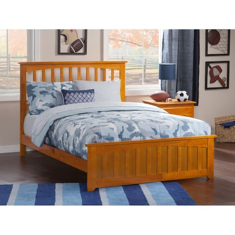 Mission Queen Traditional Bed with Matching Foot Board in Caramel