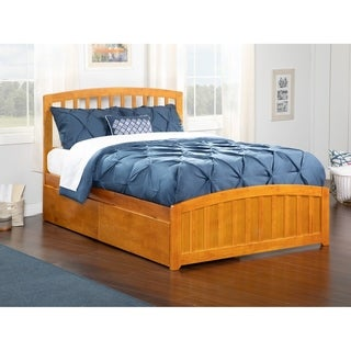 Richmond Queen Platform Bed with Matching Foot Board with 2 Urban Bed Drawers in Caramel