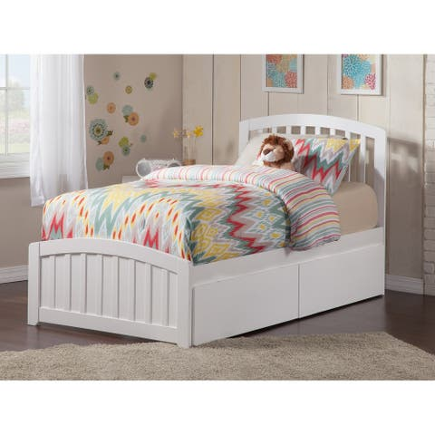 Richmond Twin XL Platform Bed with Matching Foot Board with 2 Urban Bed Drawers in White