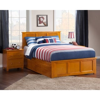 Madison Queen Platform Bed with Matching Foot Board with 2 Urban Bed Drawers in Caramel