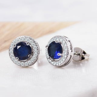 Round Halo Cubic Zirconia Stud Earrings