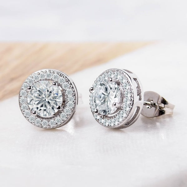 14K Yellow Gold Plated Round AAA Cubic Zirconia Double Circle Cluster Stud Earrings Summer Sale
