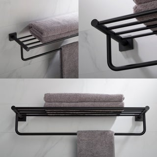 KRAUS Ventus KEA-17742 Bathroom Shelf with Towel Bar in Chrome, Brushed Nickel, Matte Black Finish