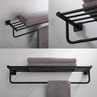 KRAUS Ventus KEA-17742 Bathroom Shelf with Towel Bar in Chrome, Brushed Nickel, Matte Black Finish