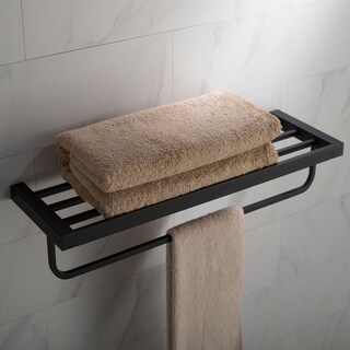 KRAUS Stelios KEA-19942 Bathroom Shelf with Towel Bar in Chrome, Brushed Nickel, Matte Black Finish
