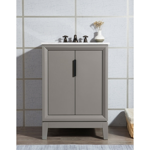 Elizabeth 24-Inch Single Sink Carrara White Marble Vanity With Matching Mirror and Lavatory Faucet