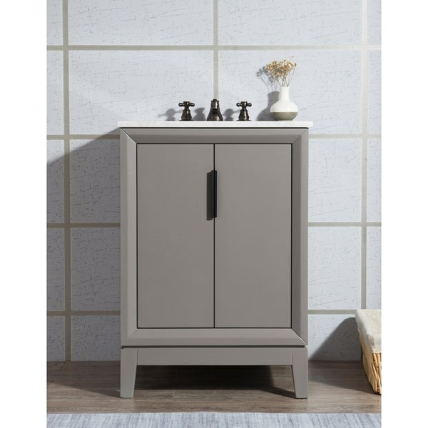 Elizabeth 24-Inch Single Sink Carrara White Marble Vanity