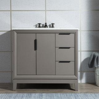 Elizabeth 36-Inch Single Sink Carrara White Marble Vanity With Matching Mirror