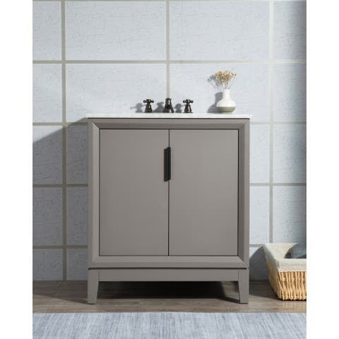 Elizabeth 30-Inch Single Sink Carrara White Marble Vanity With Lavatory Faucet