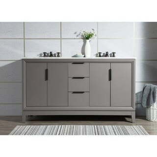 Water Creation Elizabeth White Carrara Marble/ Wood 60-inch Double-sink Marble Vanity