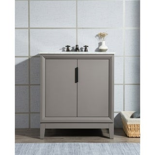 Elizabeth 30-Inch Single Sink Carrara White Marble Vanity With Matching Mirror and Lavatory Faucet