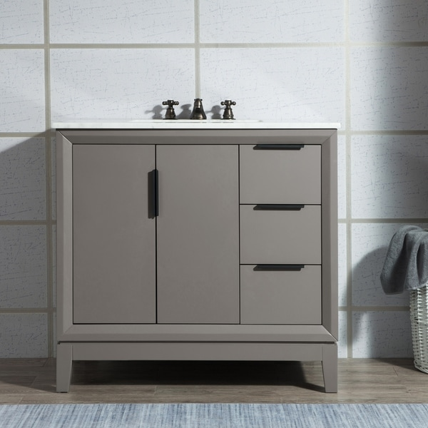 Elizabeth 36-Inch Single Sink Carrara White Marble Vanity With Matching Mirror and Lavatory Faucet