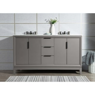 Water Creation Elizabeth 60-Inch Double Sink Carrara White Marble Vanity With Lavatory Faucets