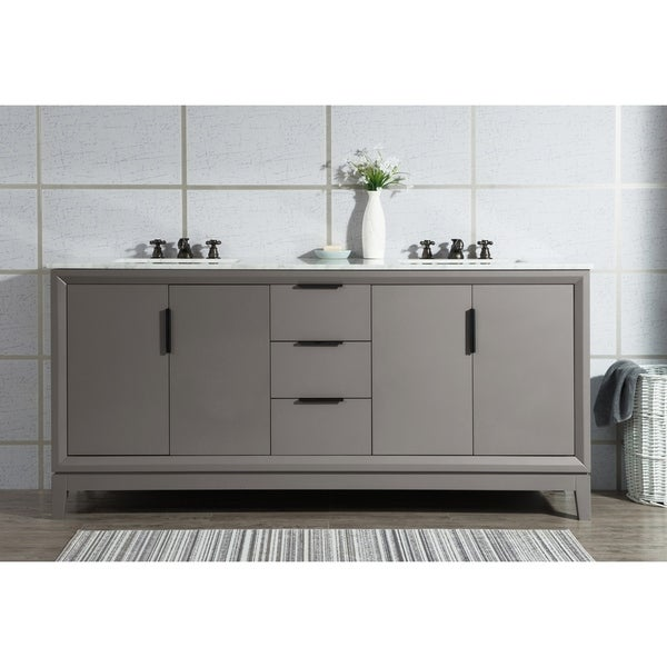 Shop Water Creation Elizabeth White Wood 72 Inch Double Sink Vanity With Carrara White Marble