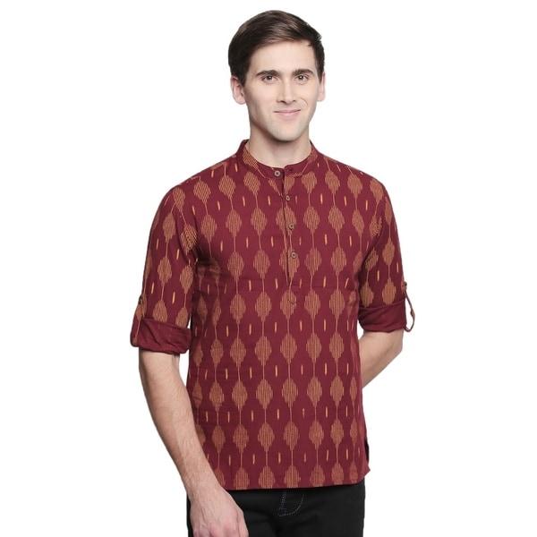 In-Sattva Mens Band Collar Ikat Print Handloom Hip Length Kurta Tunic