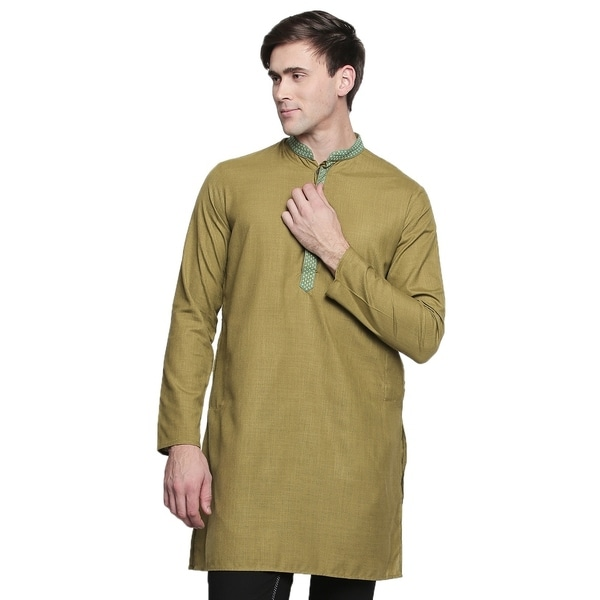 In-Sattva Mens Band Collar Kurta Tunic with Embroidered Placket