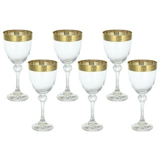 Italian Wine Glasses Versace Inspired Greek Key Gold Band 6-Piece Gift Set Made In Italy