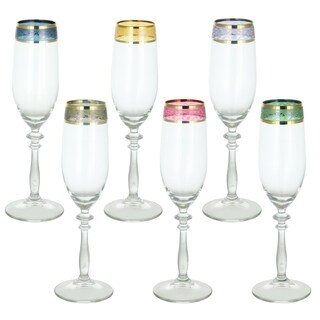 """Elegant Made In Italy Multicolor Italian Red Wine Glasses Flutes Set of 6 with Gold Trim Bands 9"""" Tall Beveled Stem"""