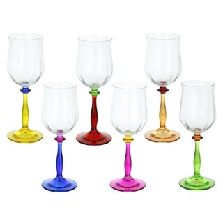 """Italian Wine Glasses Set of 6 Multicolor Stems Made In Italy Red Wine Glasses 8"""" Tall"""