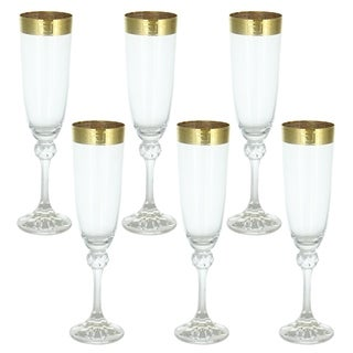 """Made In Italy Wine Glasses Flutes Gold Versace Inspired Greek Key Band 6-pc Gift Set 9.5"""" Tall Beveled Glass"""
