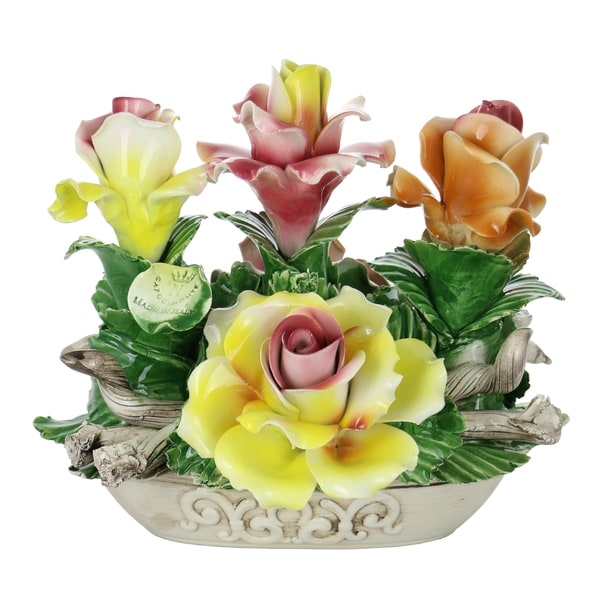 """Capodimonte Authentic Italian Oval Basket Centerpiece Yellow, Orange & Pink Flowers 8"""" x 9"""" Made in Italy"""